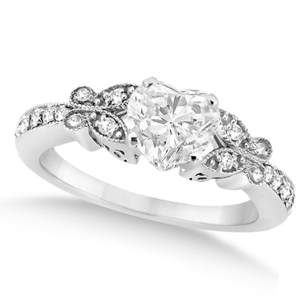 Heart Diamond Butterfly Design Engagement Ring 14k White Gold 100ct
