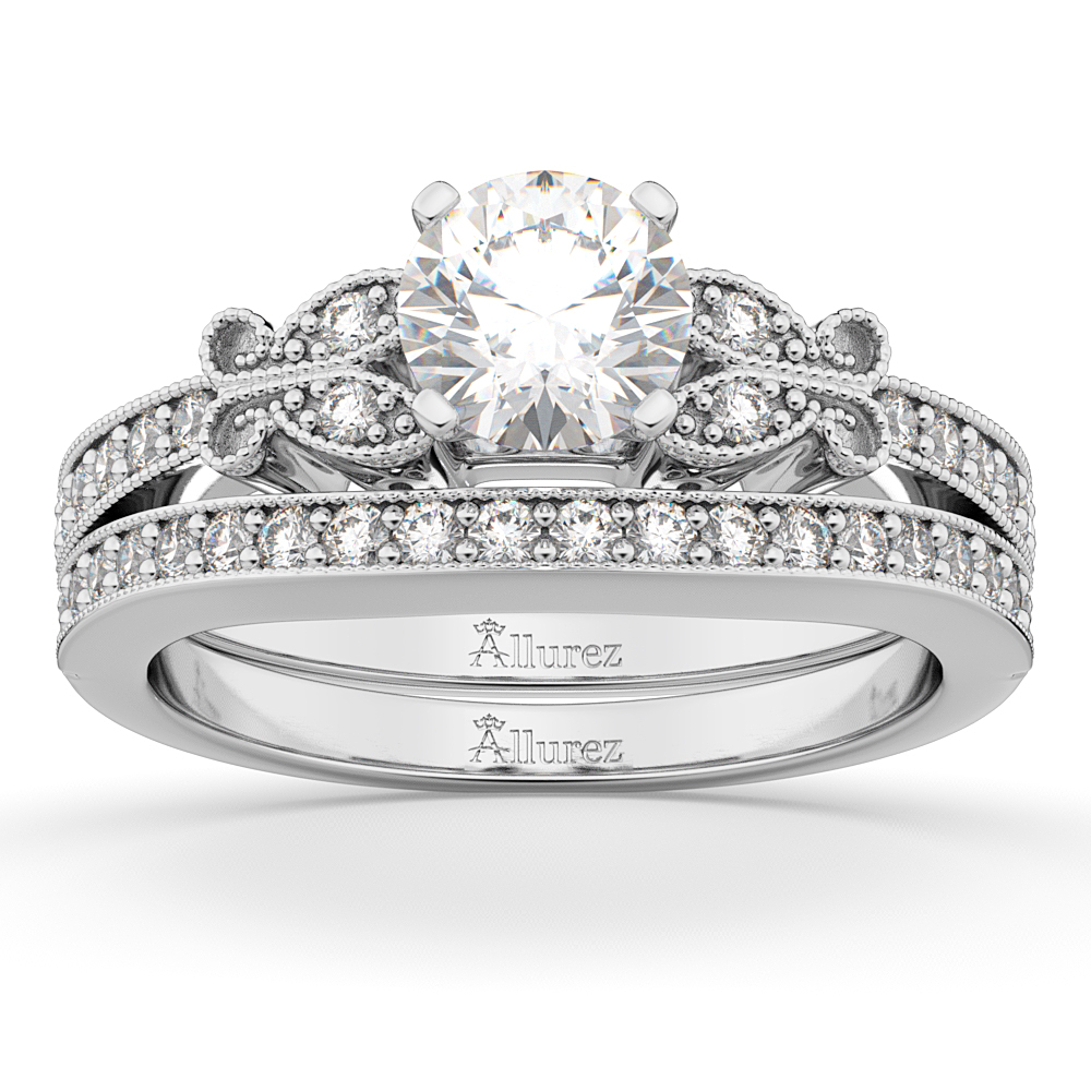 Allurez Butterfly Engagement Ring and Wedding Band Bridal...