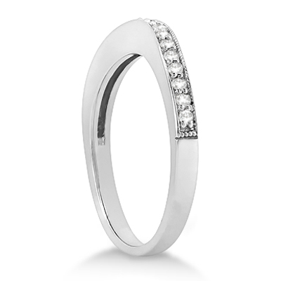 Butterfly Engagement Ring & Wedding Band Bridal Set 18k White Gold (0.42ct)