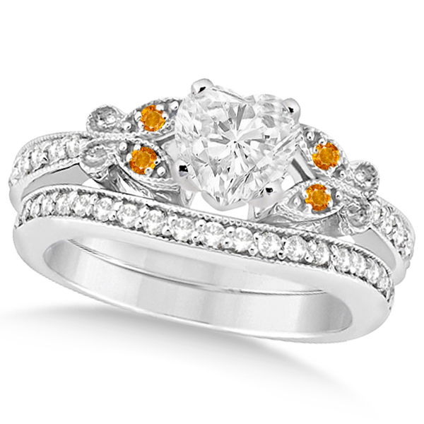 Heart Diamond and Citrine Butterfly Bridal Set in 14k W Gold (1.21ct)