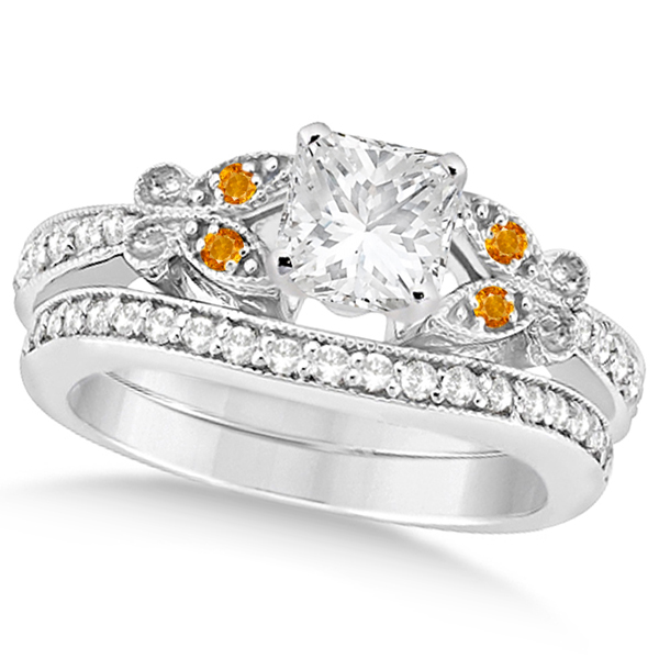 Princess Diamond and Citrine Butterfly Bridal Set in 14k W Gold (1.21ct)