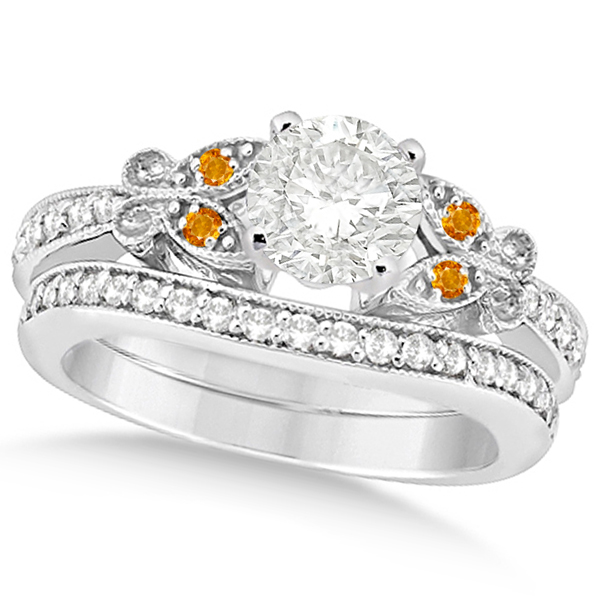 Round Diamond and Citrine Butterfly Bridal Set in 14k W Gold (1.21ct)