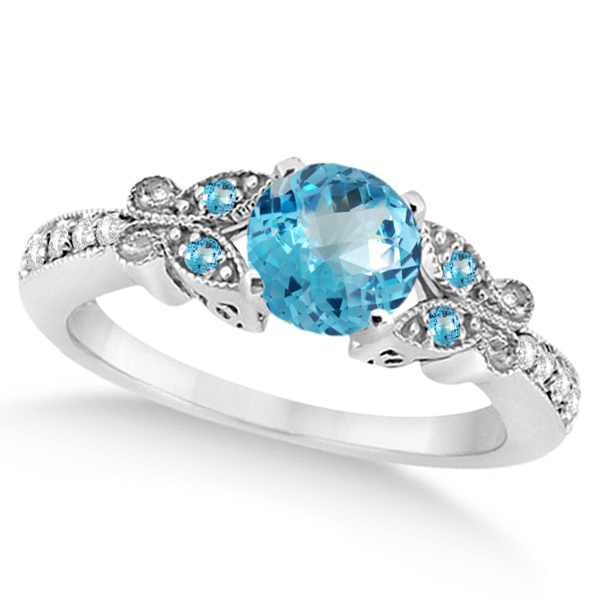 Allurez Butterfly Blue Topaz and Diamond Engagement Ring ...
