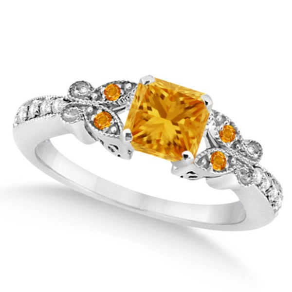 Butterfly Citrine and Diamond Princess Engagement Ring 14k W Gold 1.33ct