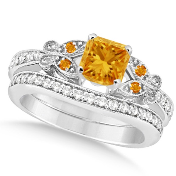 Butterfly Citrine and Diamond Princess Bridal Set 14k White Gold 1.55ct