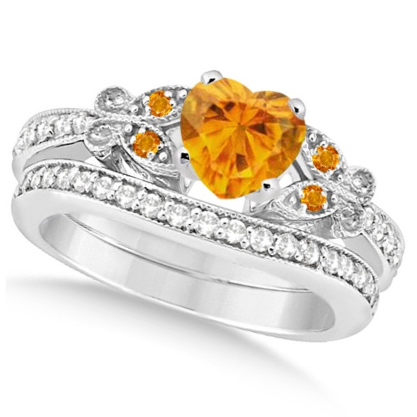 Butterfly Genuine Citrine and Diamond Heart Bridal Set 14k W Gold 2.70ct