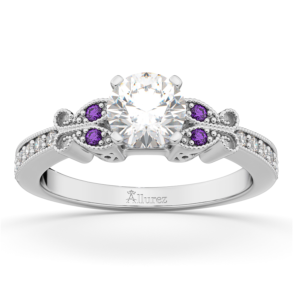 Ordinaire Butterfly Diamond U0026 Amethyst Engagement Ring 14k White Gold ...