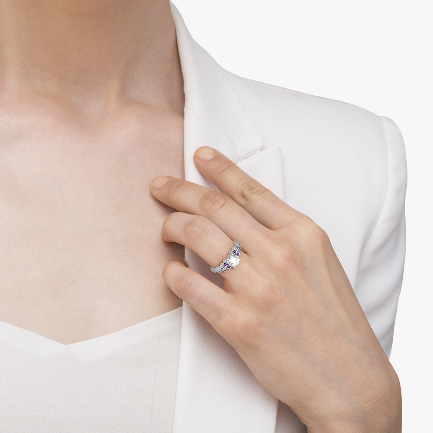 Butterfly Diamond Amethyst Engagement Ring 14k White Gold 020ct