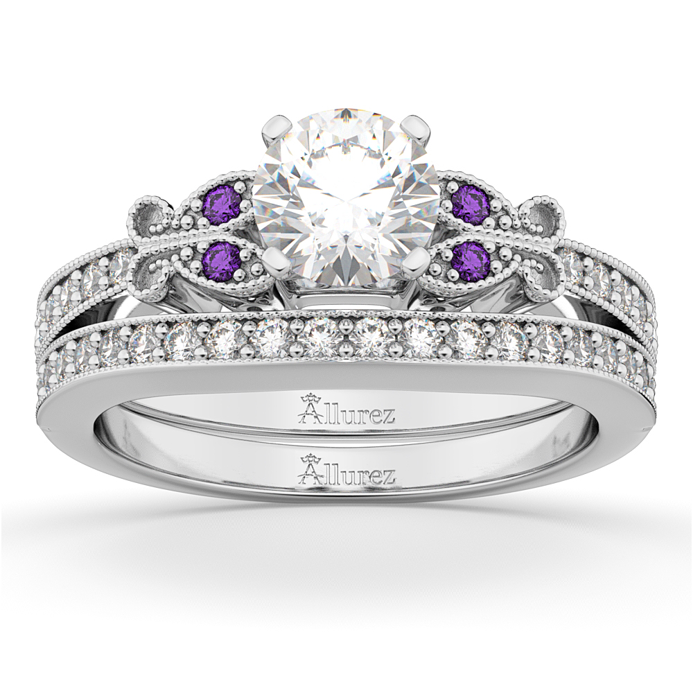 Butterfly Diamond Amethyst Bridal Set 14k White Gold 042ct