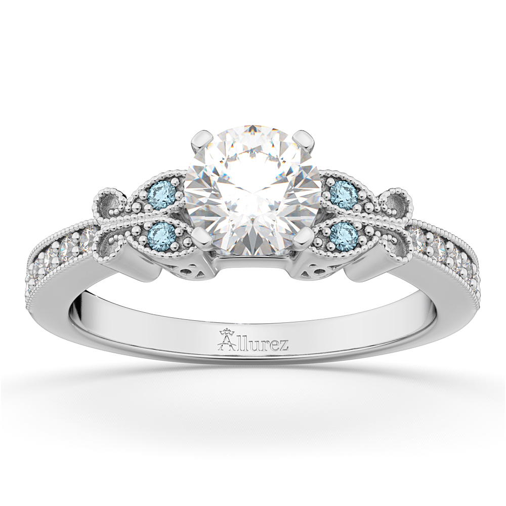 Allurez Butterfly Diamond and Aquamarine Engagement Ring ...