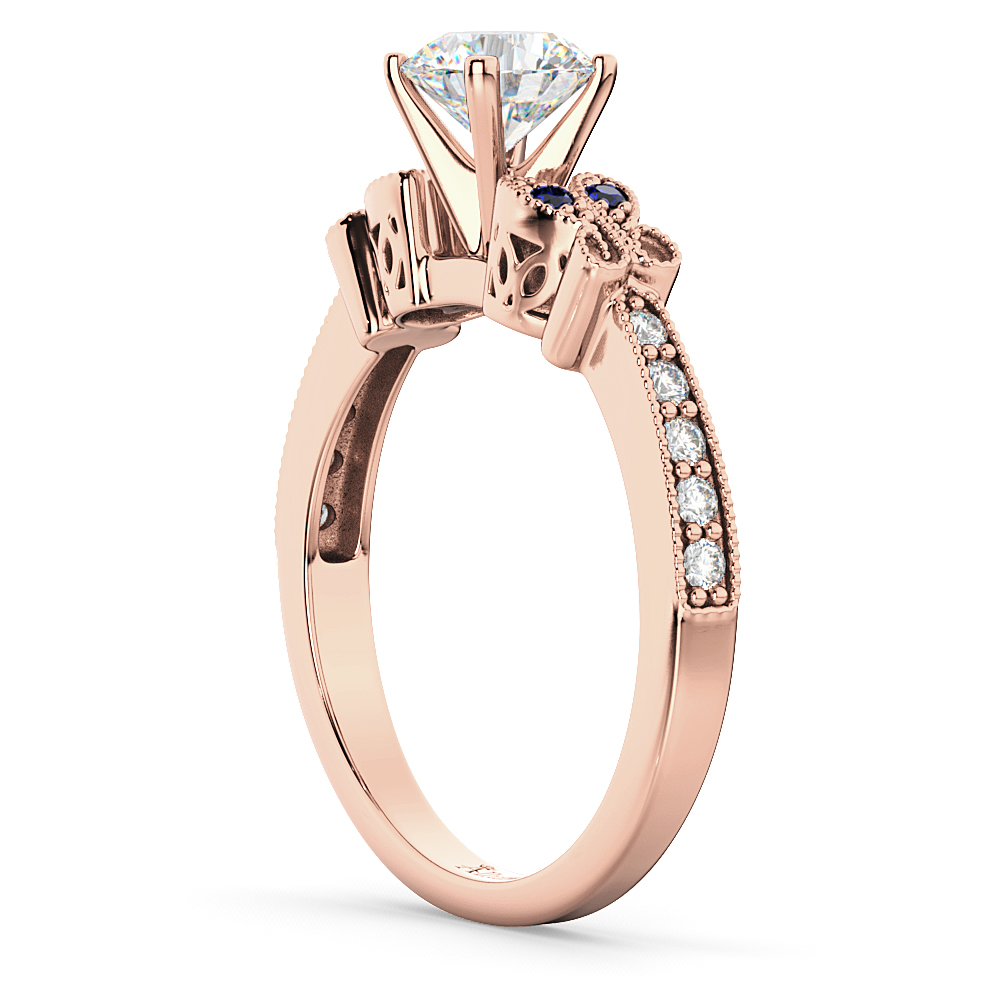 Butterfly Diamond & Sapphire Engagement Ring 14k Rose Gold (0.20ct)