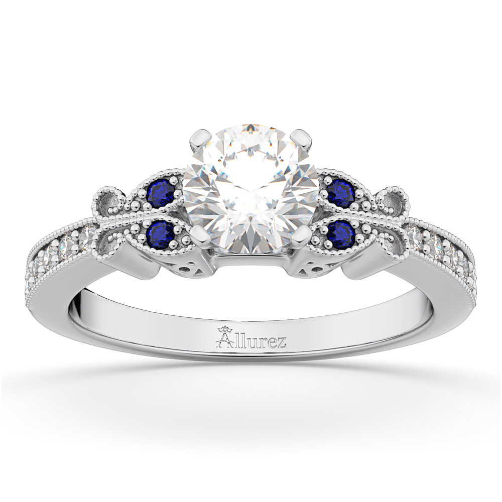 Butterfly Diamond Sapphire Engagement Ring 14k White Gold 020ct