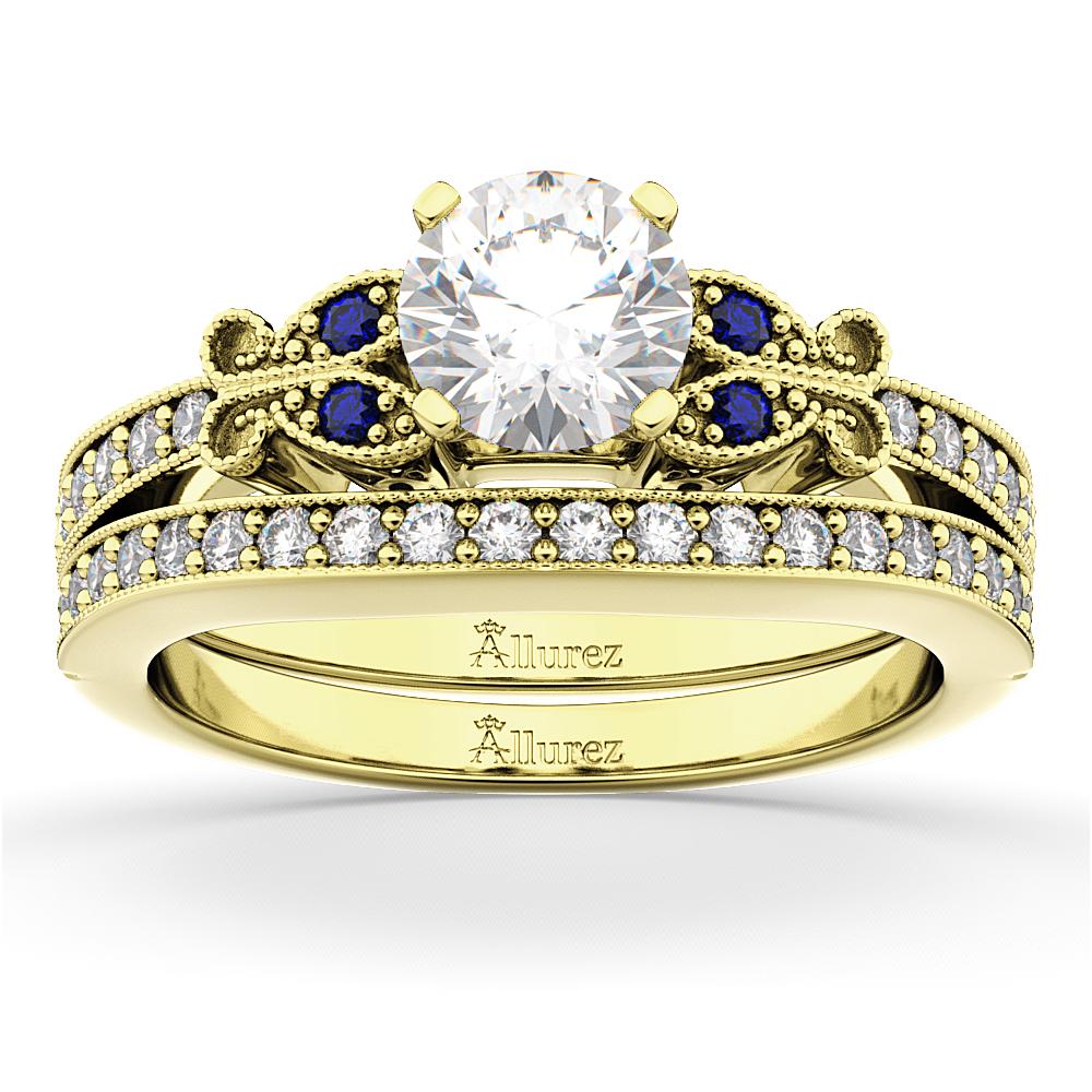 Allurez Butterfly Diamond and Blue Sapphire Bridal Set 14...