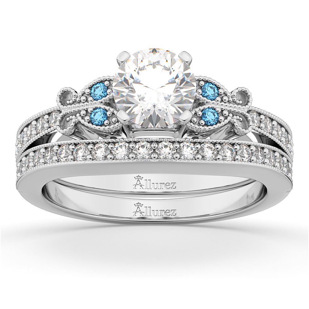 Butterfly Diamond Blue Topaz Bridal Set 18k White Gold 042ct