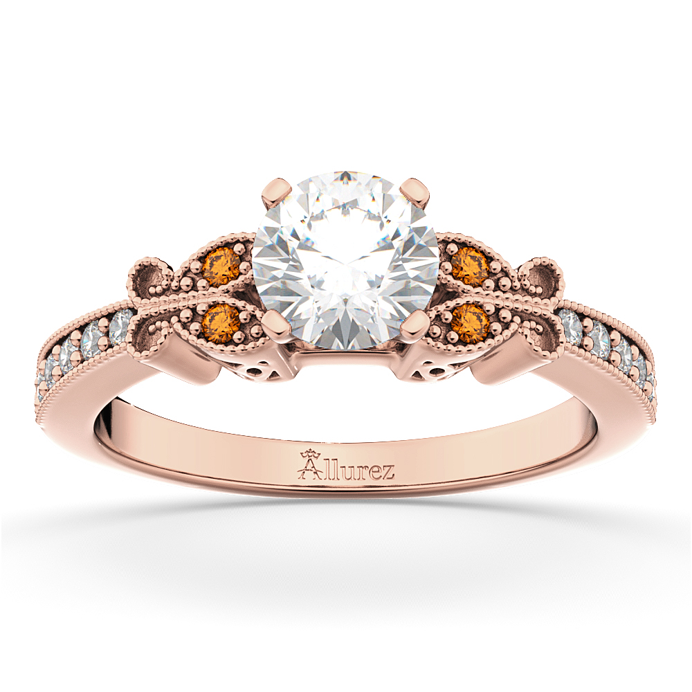 Butterfly Diamond & Citrine Engagement Ring 14k Rose Gold 0 20ct