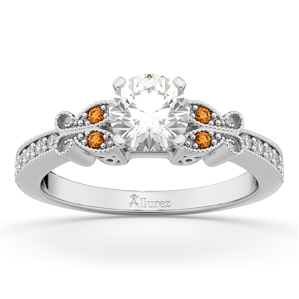 Butterfly Diamond and Citrine Engagement Ring 18k White Gold (0.20ct)