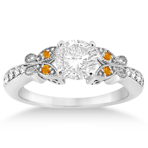 Butterfly Diamond and Citrine Engagement Ring Platinum (0.20ct)