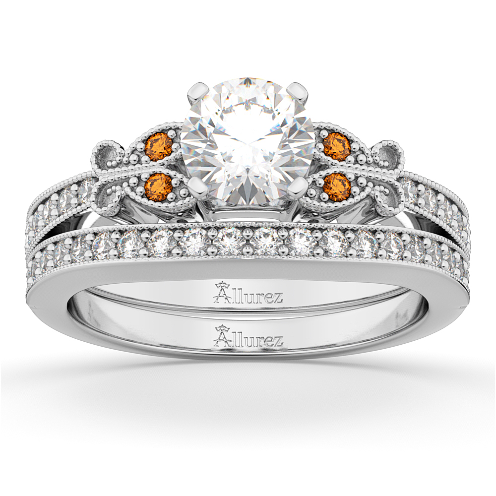Butterfly Diamond and Citrine Bridal Set 14k White Gold (0.42ct)