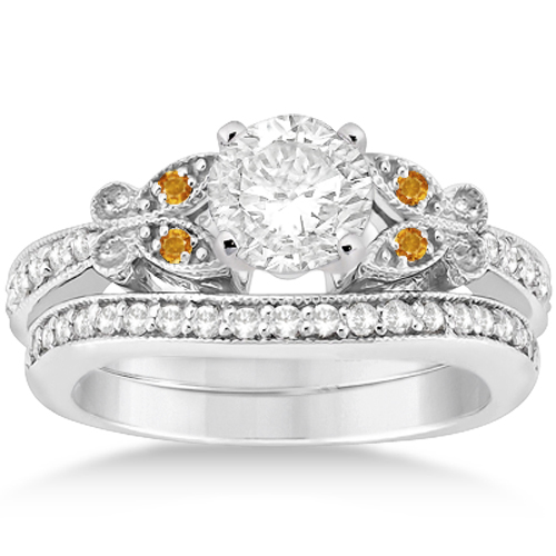 Butterfly Diamond and Citrine Bridal Set Platinum (0.42ct)