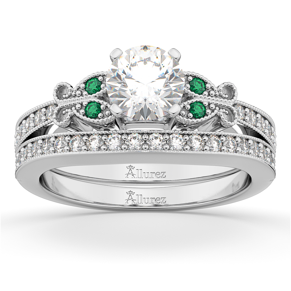 Butterfly Diamond & Emerald Bridal Set 14k White Gold (0.42ct)