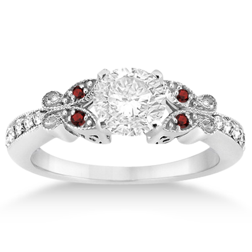 Captivating Butterfly Diamond U0026 Garnet Engagement Ring Platinum ... Photo Gallery