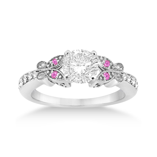 Allurez Butterfly Diamond and Pink Sapphire Engagement Ri...