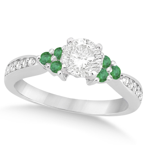 Allurez Floral Diamond and Emerald Engagement Ring 14k Wh...