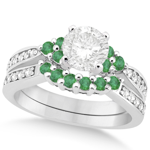 Allurez Floral Diamond and Emerald Bridal Set in 14k Whit...