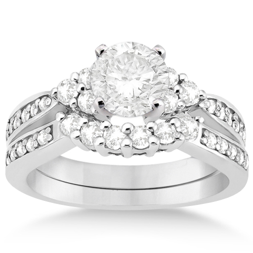 Allurez Floral Diamond Engagement Ring and Wedding Band 1...