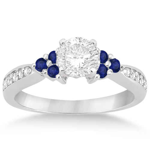 Allurez Floral Diamond and Sapphire Engagement Ring Platinum (0.30ct) at Sears.com