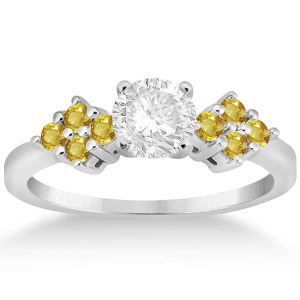 Yellow Sapphire Engagement Ring & Wedding Band 14k White Gold (0.50ct)