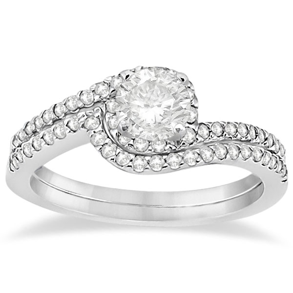 Allurez Halo Twist Diamond Bridal Set Ring and Band Plati...