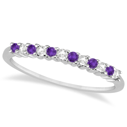 Pee Diamond Amethyst Wedding Band 14k White Gold