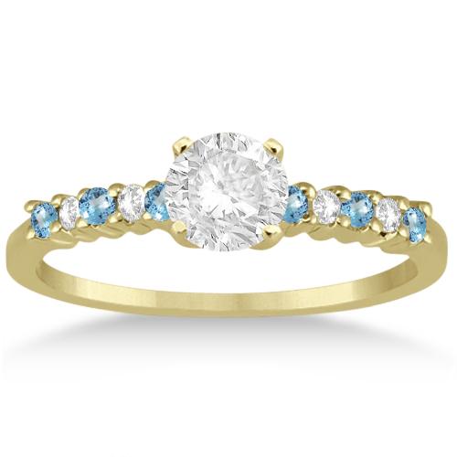 Petite Diamond & Blue Topaz Bridal Set 18k Yellow Gold (0.35ct)