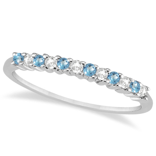 Petite Diamond Blue Topaz Wedding Band 18k White Gold 020ct