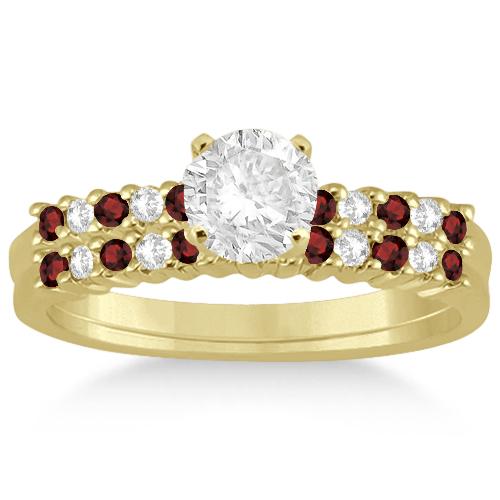 Allurez Petite Diamond and Garnet Bridal Set 14k Yellow G...