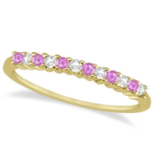 Diamond & Pink Sapphire Wedding Band 14k Yellow Gold (0.20ct)