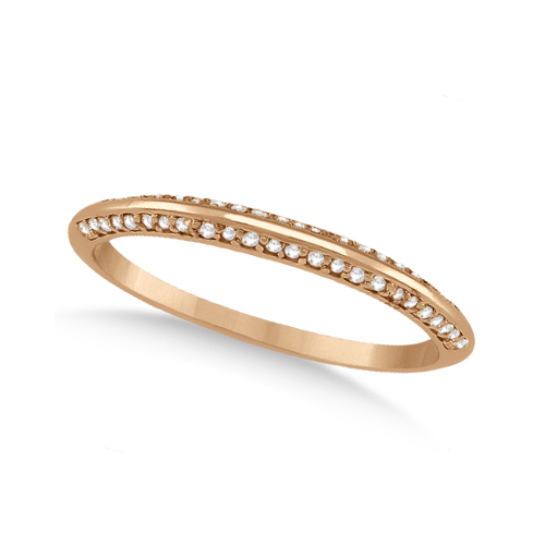 Allurez Knife Edged Micro Pave Diamond Wedding Band 14k Rose Gold (0.27ct) at Sears.com