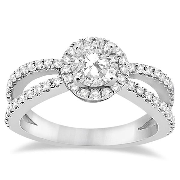 Diamond Halo Split Shank Engagement Ring 14k White Gold 0 46ct