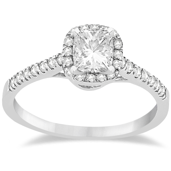 Allurez Diamond Halo Square Engagement Ring Palladium (0....