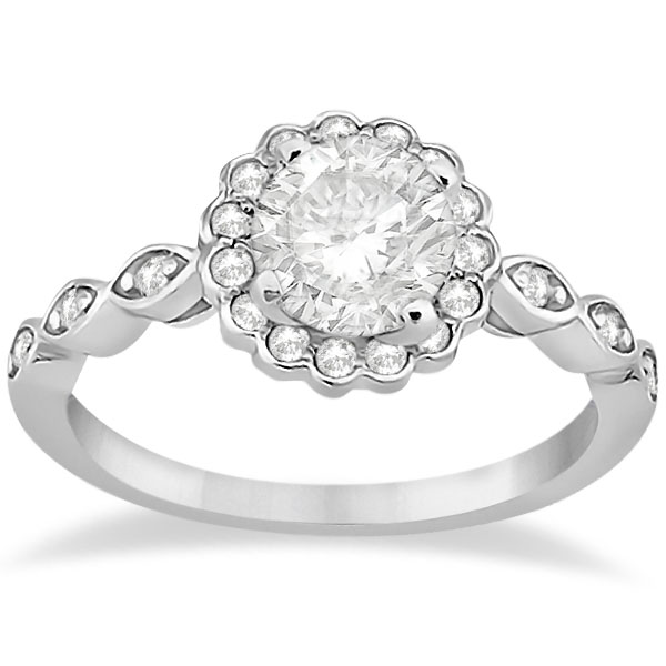 Floral Halo Diamond Marquise Engagement Ring 14k White Gold 024ct