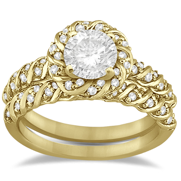 Allurez Diamond Rope Halo Engagement Ring With Band 18k Yellow Gold (0.44ct) at Sears.com