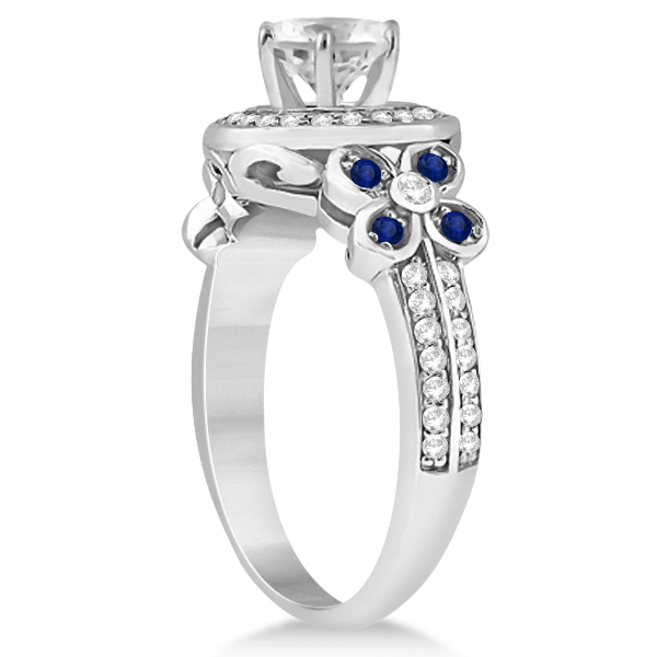 Diamond & Blue Sapphire Floral Halo Engagement Ring 14k White Gold (0.35ct)