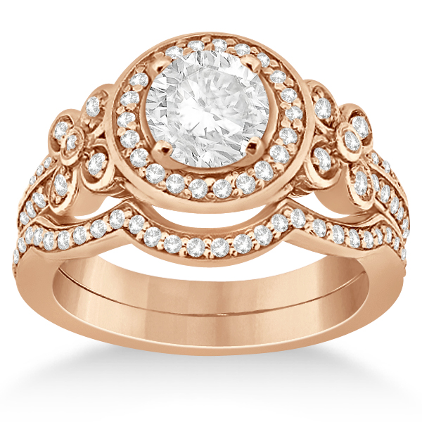 Allurez Diamond Flower Engagement Ring and Band Bridal Set 14k Rose Gold (0.51ct) at Sears.com