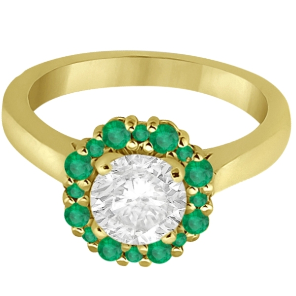 Halo Green Emerald Engagement Ring & Band 14K Yellow Gold (1.08ct)