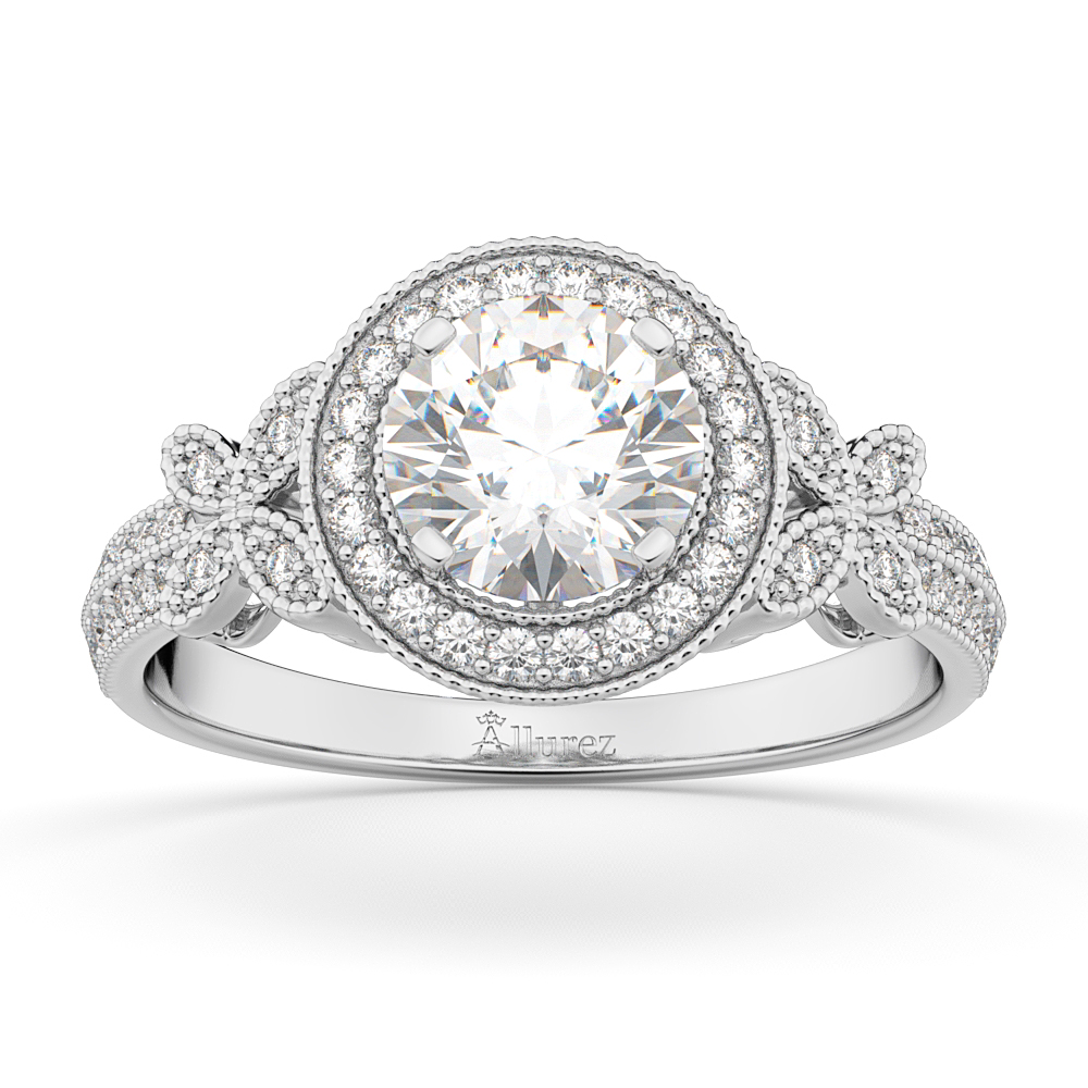 This halo bridal band has clear bright white GH Color VS2-SI diamonds in pave setting. Shop online this 14kt White Gold butterfly diamond engagement ring. Shop