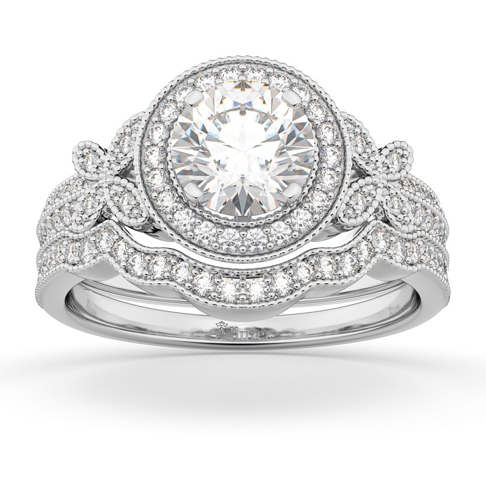 Allurez Butterfly Diamond Engagement Ring and Wedding Ban...