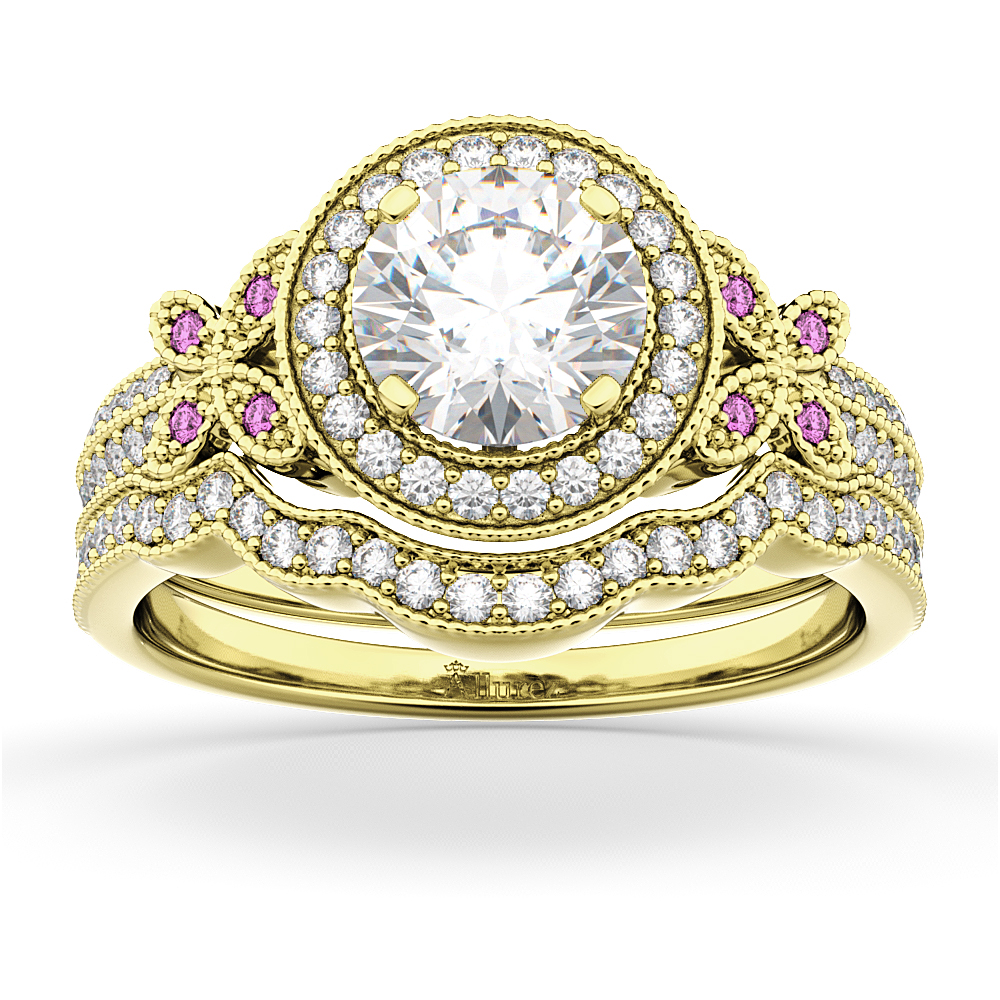 Allurez Butterfly Diamond and Pink Sapphire Engagement Se...