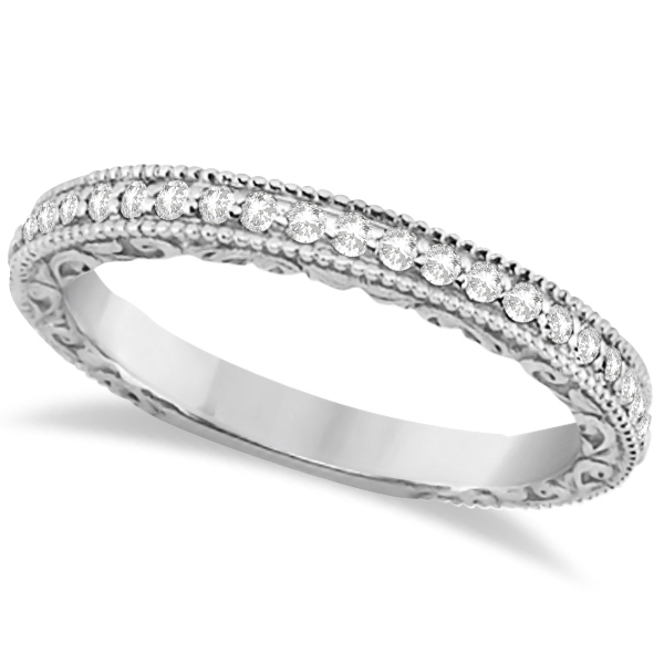 Allurez Milgrain and Filigree Diamond Wedding Band 14kt W...