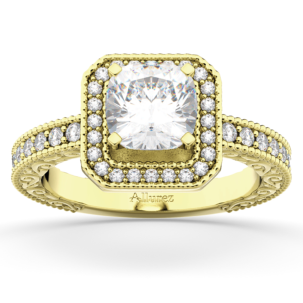 Allurez Milgrain Square Halo Diamond Engagement Ring 14kt...